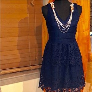 Alya from Francesca's Navy Lace Tiered Dress NWOT